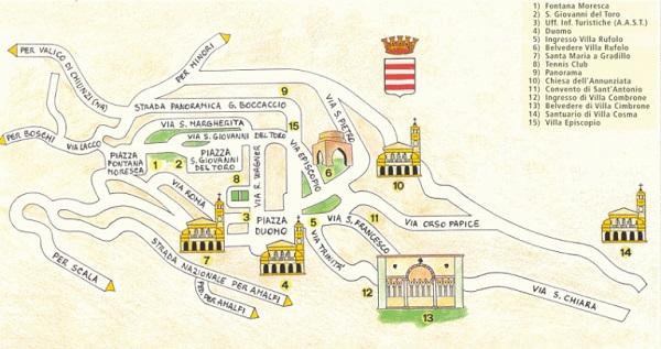 Ravello, cosa vedere: Mappa della città