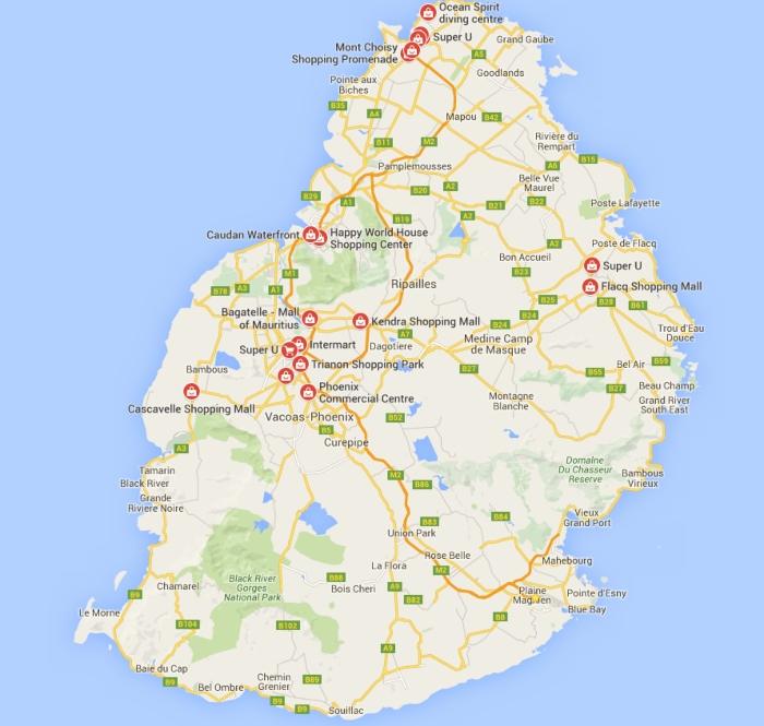 Mappa isola di Mauritius