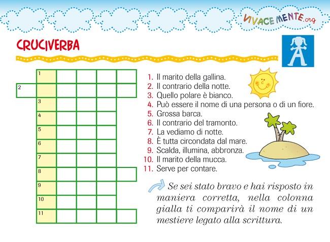 Cruciverba per bambini labirinti e sudoku per for Cruciverba da stampare facili